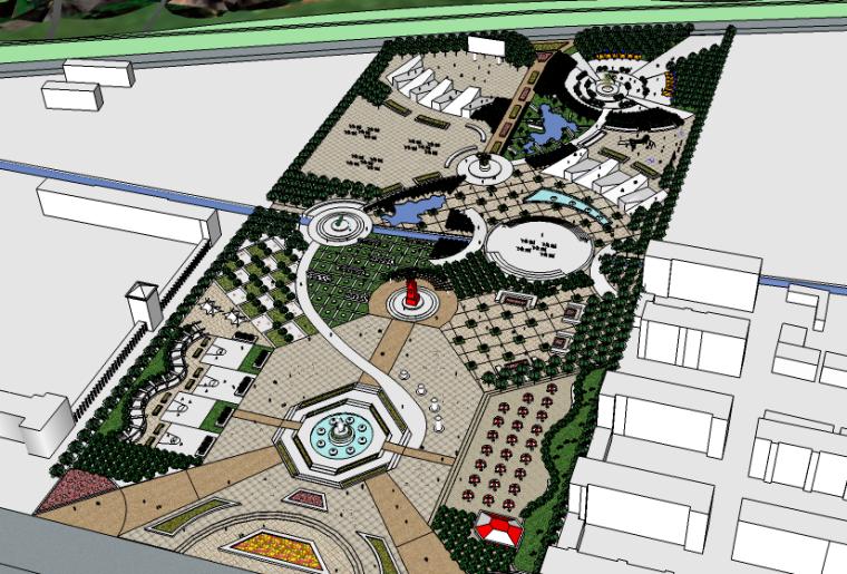 山脚下圆形元素广场景观su模型