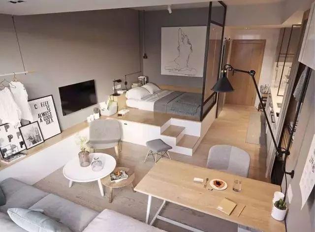 35㎡单身公寓简约风,单间装得比大房子还好