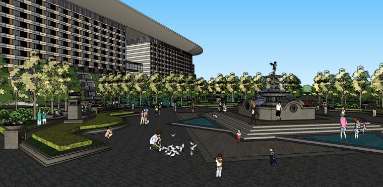 商业欧式公园广场景观su模型