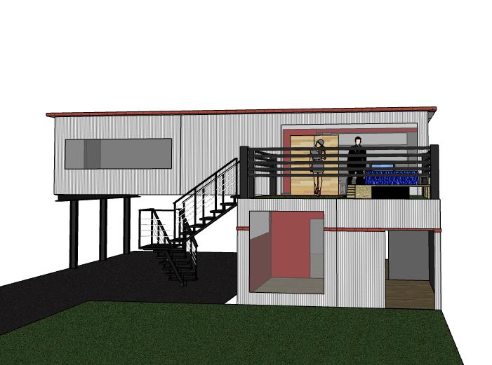 二层集装箱房屋建筑模型设计