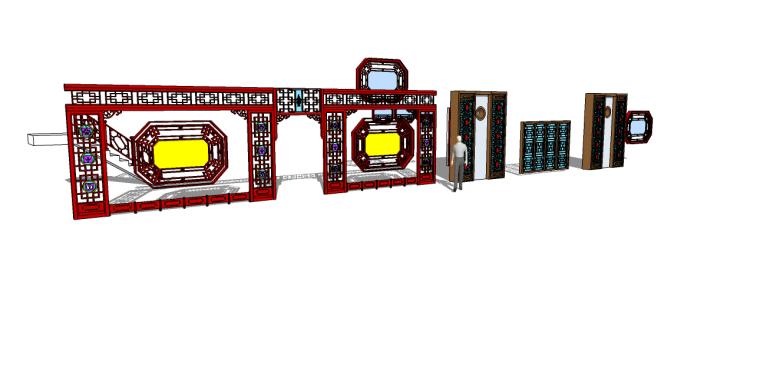 中式小品su模型(中式屏风,花窗,楼梯)