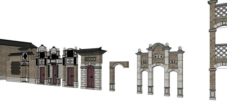 中式建筑构件su模型(门楼,庭院大门)