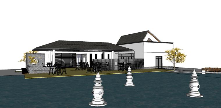 小场景滨水中式别墅景观su模型