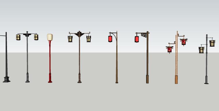 中式铁艺灯su模型