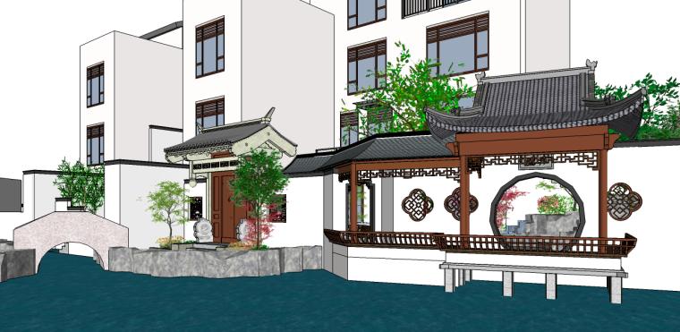 中式小场景别墅su模型
