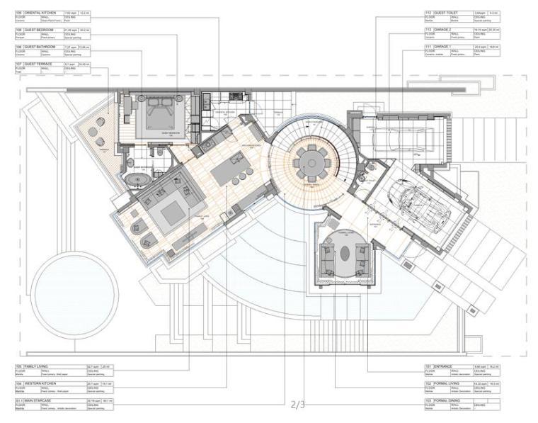 成都麓湖生态城别墅C户型样板间施工图+效果