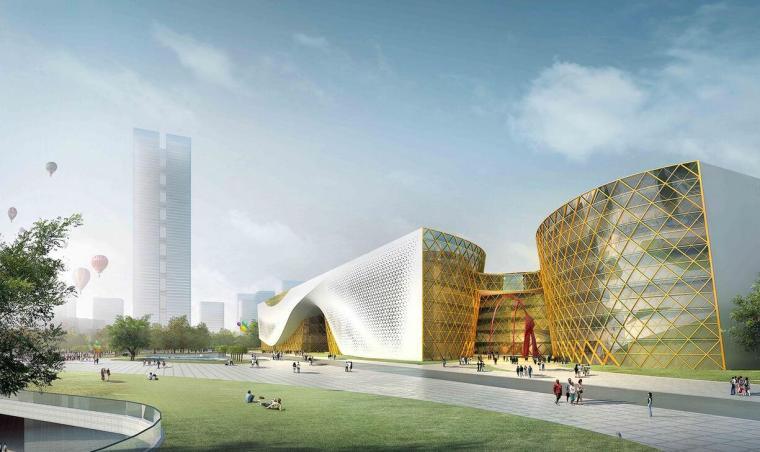 现代风格文体中心建筑模型设计