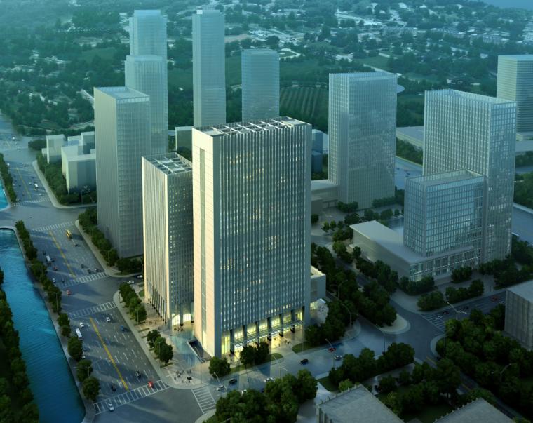 城市商务中心区高层办公综合体建筑方案图
