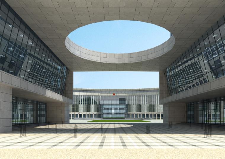 04公众服务市民中心行政中心建筑内庭效果图