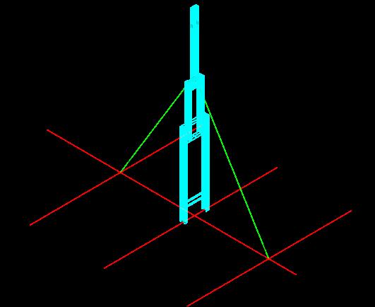 34钢柱临时固定图(缆风绳与地面夹角不大于45度)