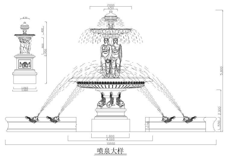 罗马柱造型大样图图块
