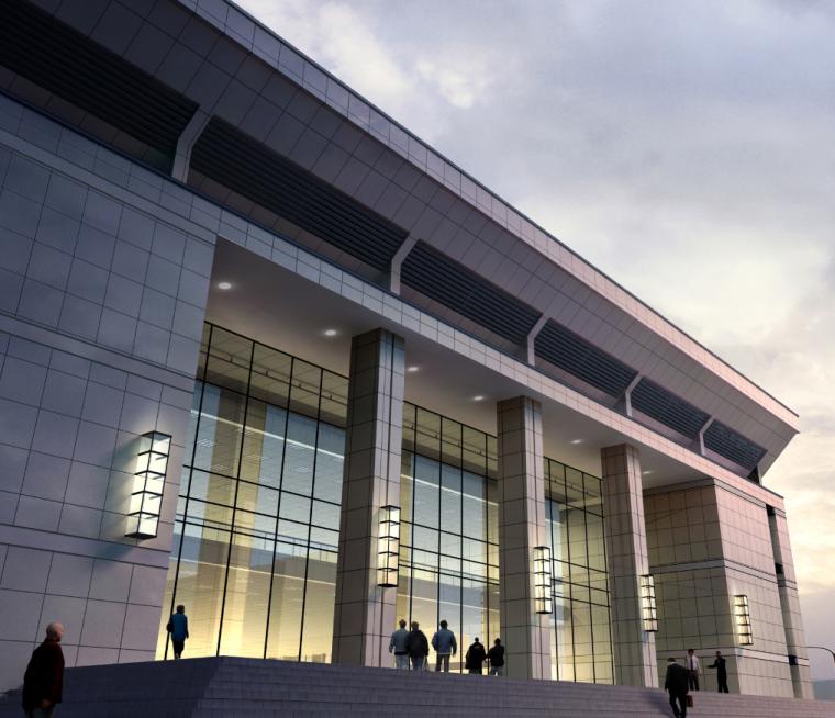 高校高层综合科技教研楼建筑入口效果图