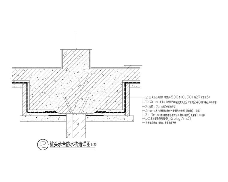 桩头承台防水构造详图