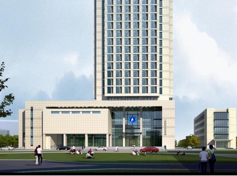高校高层综合科技教研楼建筑立面图