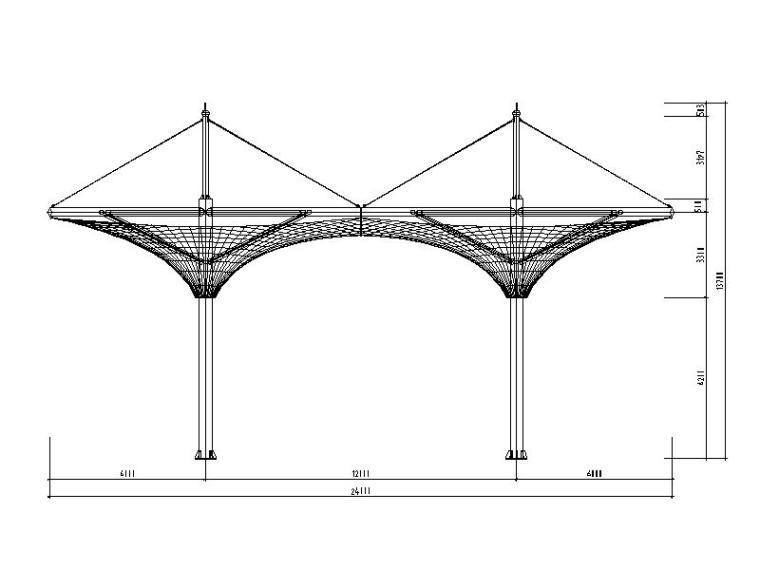 交通检查站张拉膜结构施工图(含基础2014)