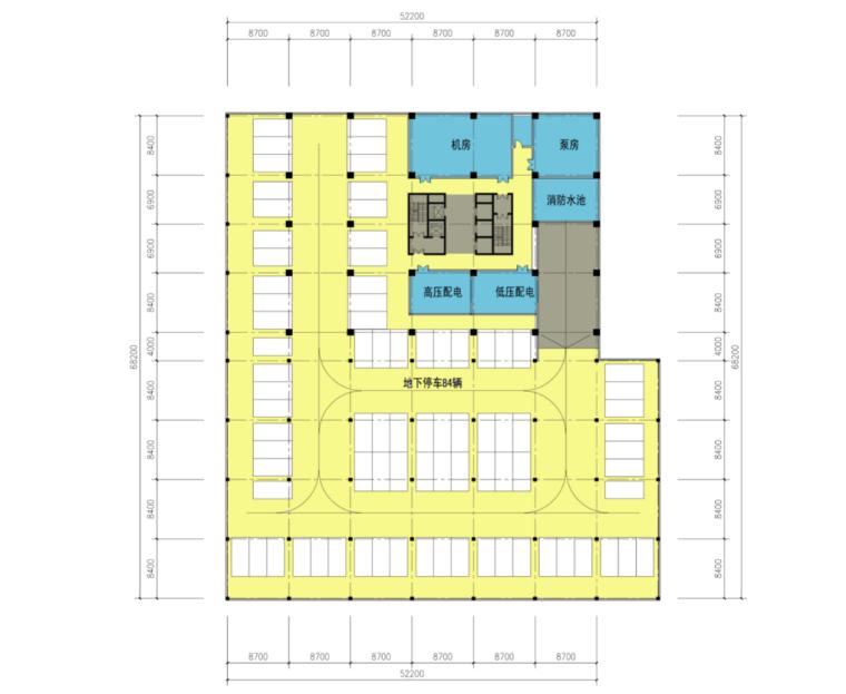 高校高层综合科技教研楼建筑地下层平面图PNG
