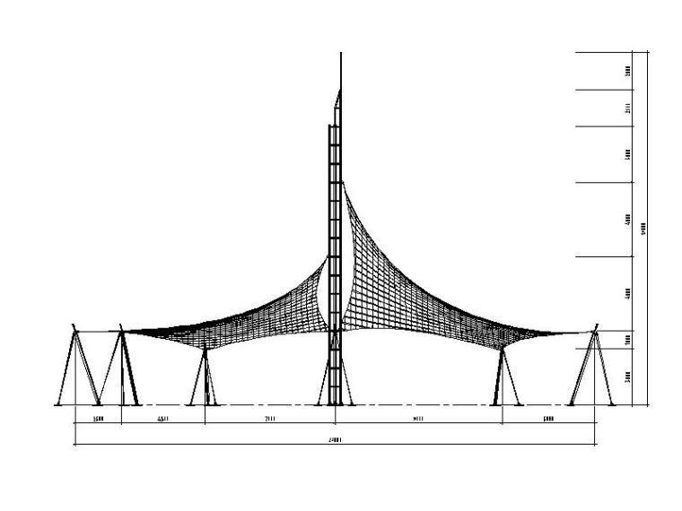 景观张拉膜结构施工图(2014,图纸齐全)