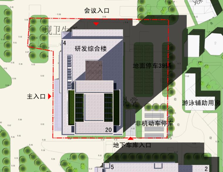 高校高层综合科技教研楼建筑总平面图