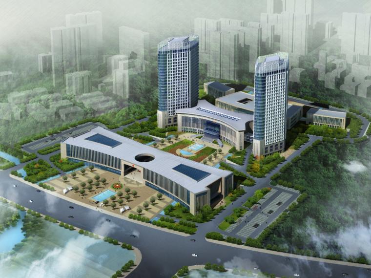 01公众服务市民中心行政中心建筑鸟瞰图