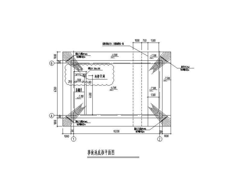 污水处理-钢筋混凝土事故池结构施工图
