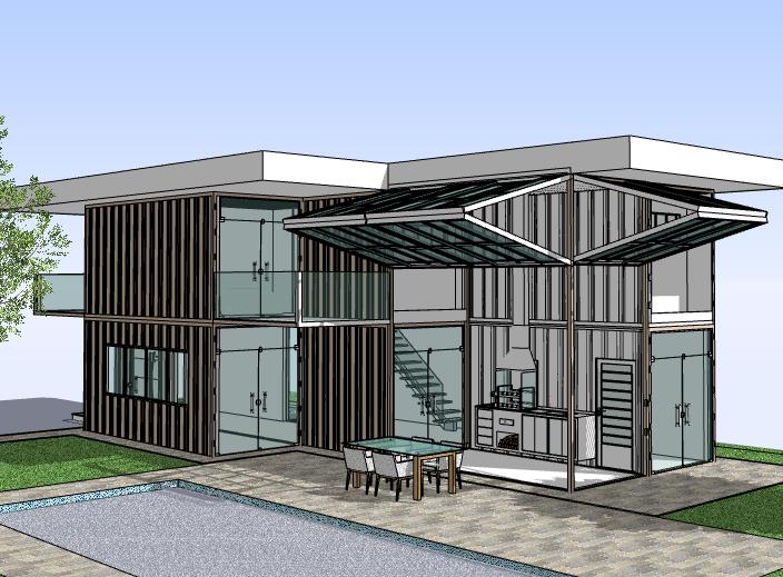 现代简约集装箱住宅建筑模型设计
