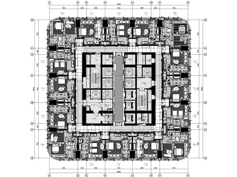 深圳安达仕酒店客房层精装修施工图+物料