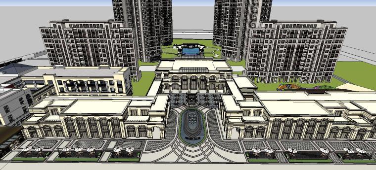 [广东]新古典风格示范区住宅建筑模型