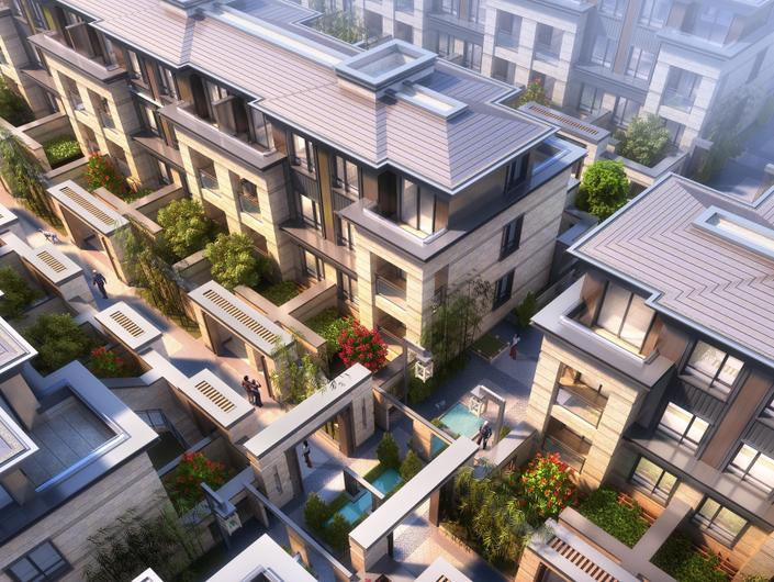上海泰禾新江湾投标新中式院墅建筑模型设计