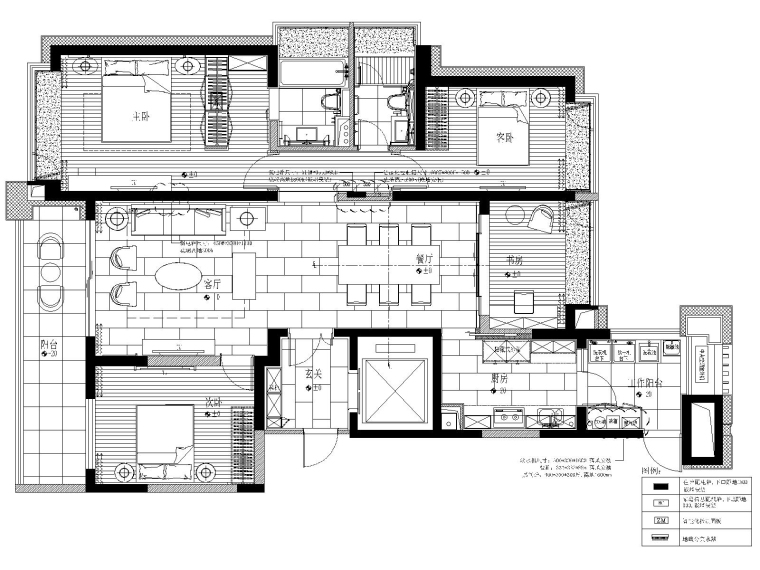 上海珠江铂世·外滩界三居室样板间施工图纸