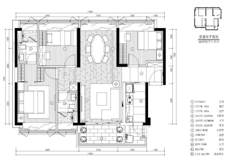 [深圳]DHO-京基长源项目4栋2层C户型图纸