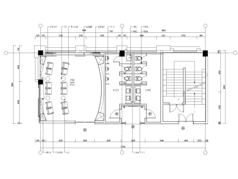 71F-6P影音室、卫生间平面图