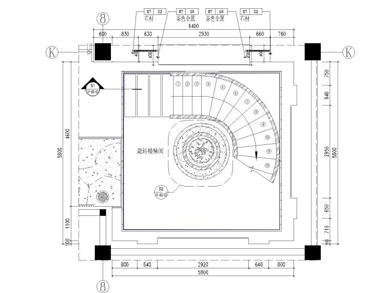 91F-8P旋转楼梯间平面图