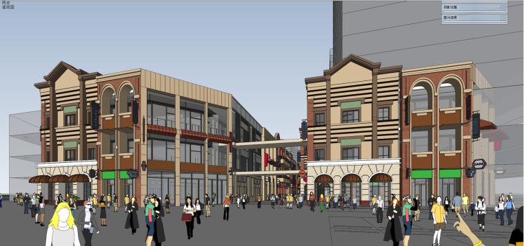 褐石风格金街商业建筑模型设计