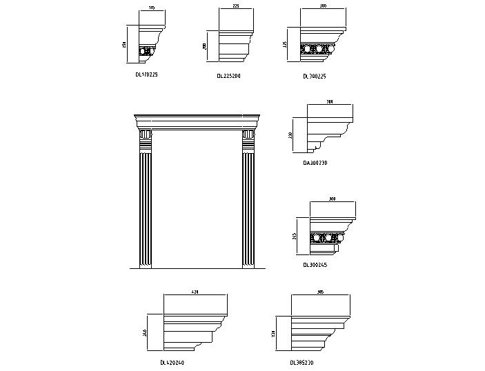 欧式常用构件门窗系列大样图(CAD)