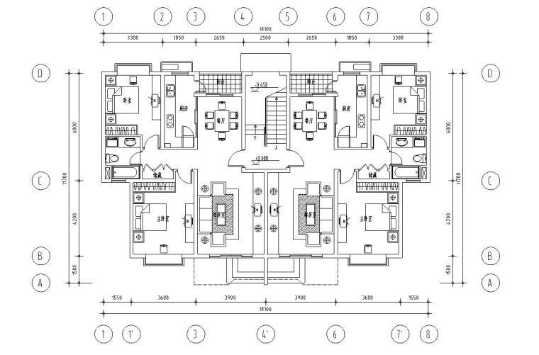 经典多层住宅楼户型设计图