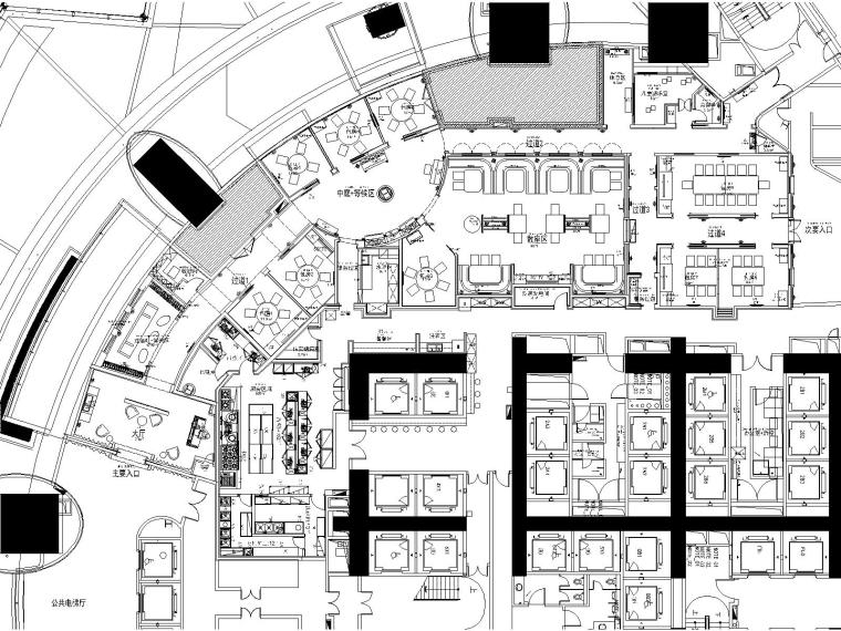 上海中心大厦洋房火锅餐厅CAD施工图+效果图