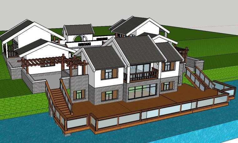 中式四合院别墅建筑模型设计