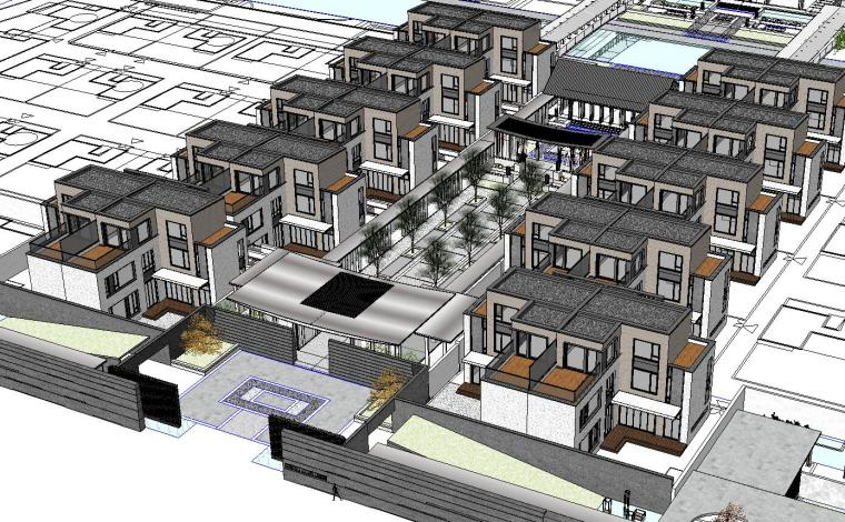 [江苏]中式风格联排别墅规划模型