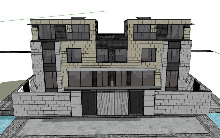 [江苏]新中式风格别墅展示区建筑模型