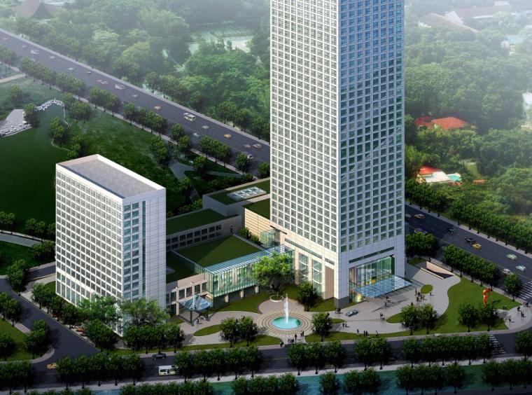 02庄重典雅高层酒店办公楼建筑空间效果图