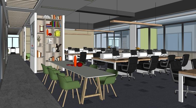 现代风格办公空间室内SU模型设计(5)