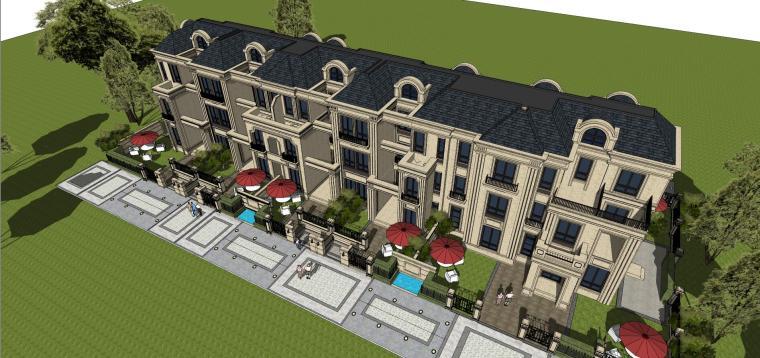 法式风格联排别墅建筑模型设计