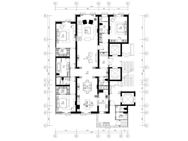 [大连]维多利亚公馆D2户型施工图+效果图
