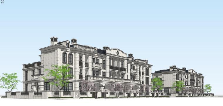 法式风格六拼建筑模型设计