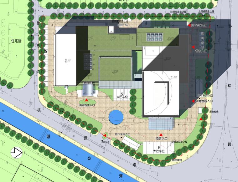 庄重典雅高层酒店办公楼建筑总平面图