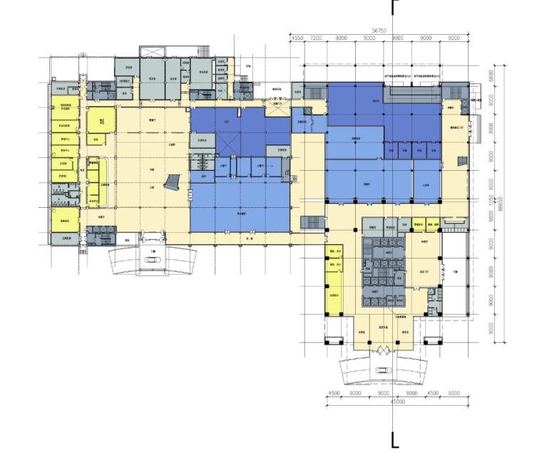 庄重典雅高层酒店办公楼建筑一层平面图
