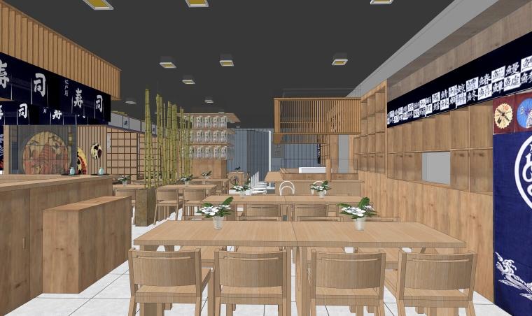 现代风格餐饮空间室内SU模型设计(5)