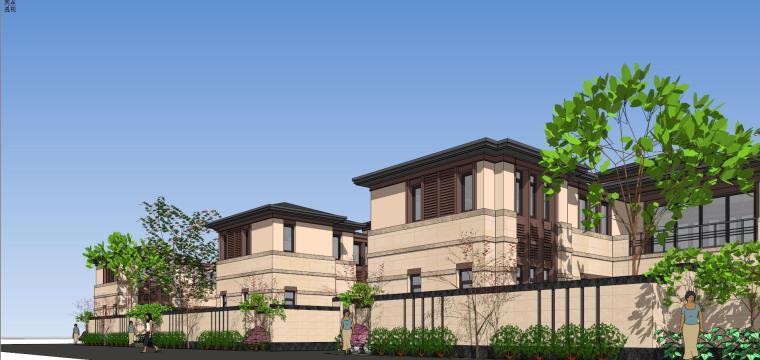 新中式风格山地别墅合院建筑模型设计