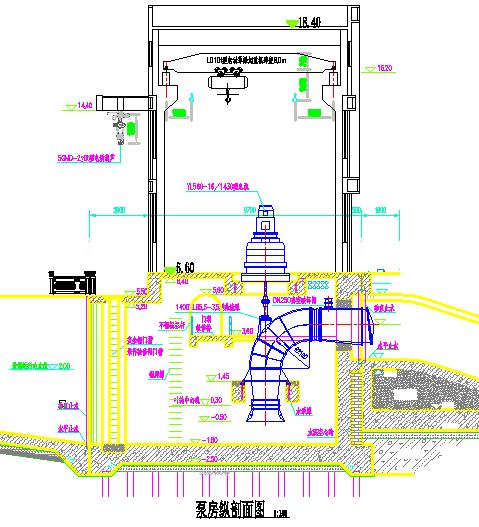 01泵房纵剖面图