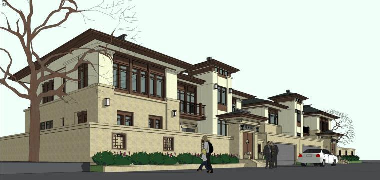 福德门中式双拼别墅建筑模型设计